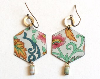 Upcycled Floral Tin Earrings, Repurposed Vintage Tin and Brass, Hexagon, Dangle Earrings