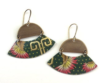 Upcycled Tin Earrings, Asian Floral, Antiqued Bronze Tone Findings, Lightweight