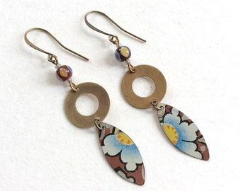 Long Tin Brass Dangle Earrings, Repurposed Vintage Tin, Beads