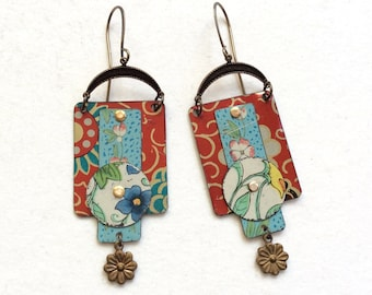 Upcycled Layered Tin Earrings, Repurposed Vintage Floral Tin, Antiqued Brass, Lightweight