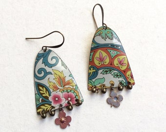 Upcycle Layered Tin and Bead Earrings, Repurposed Vintage Floral Tin, Antiqued Brass, Lightweight