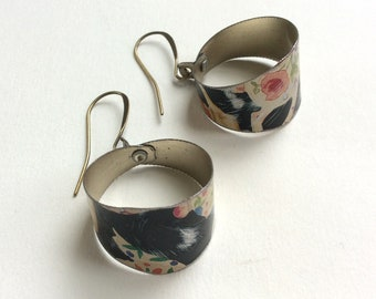 Upcycled Tin Hoop Earrings, Lightweight, Bronze Tone Ear Wires, One of a Kind