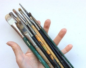 12 Used and Abused Paint Brushes, Paint Splattered, For Display, Assemblage, Mixed Media