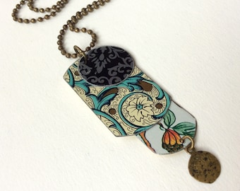 """Upcycled Tin Necklace, Dog Tags, Floral, 24"""" Ball Chain"""