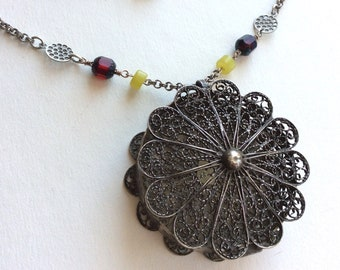 """Long Silver Chain Necklace with Filigree Box Pendant, 31"""", One of a Kind"""