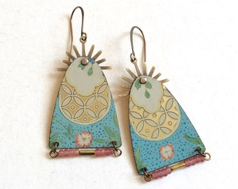 Upcycle Tin and Bead Earrings, Repurposed Vintage Floral Tin, Antiqued Brass, Unique and Lightweight