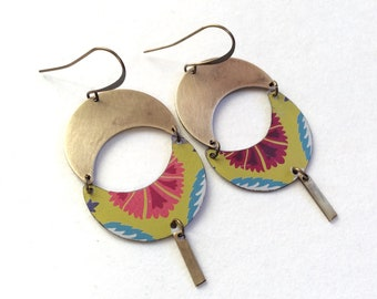 Upcycled Floral Tin and Brass Earrings, Repurposed Vintage Tin, Lightweight, Unique