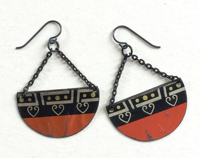 Upcycled Half Circle Tin Earrings Repurposed Vintage Copper Color Tin Black Chain Lightweight
