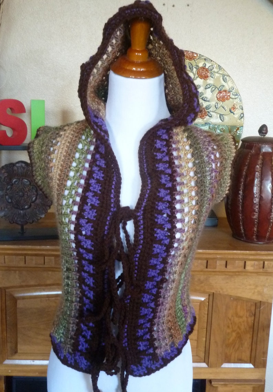 hooded vest crochet vest women/'s vest Tie Front Hooded Multicolor Vest handmade vest sweater vest