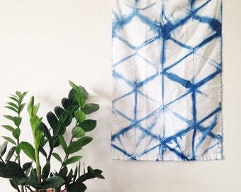 Linen Indigo Shibori Tea Towel Tortoiseshell