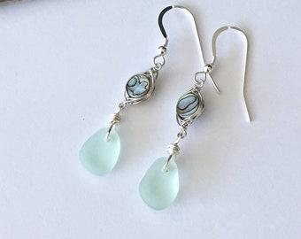 736eb7a98 Sea foam sea glass earrings -shell and sea glass earrings - seafoam drop  earrings