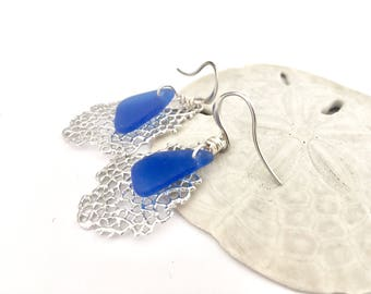 Sea glass earrings - cobalt blue sea glass on silver abstract drops, coral and seaglass drop earrings
