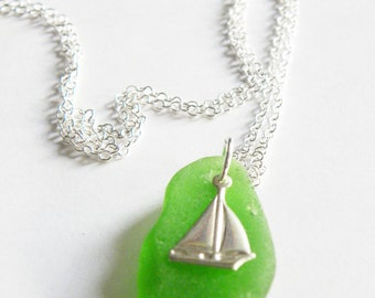 Sea glass and sterling silver sailboat charm necklace - nautical gift, sea glass fashion jewelry