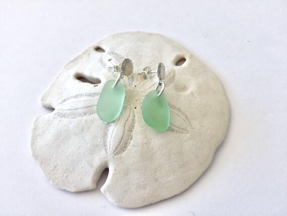 fcd5f808f Sterling silver sand dollar earrings sea glass earrings sea | Etsy