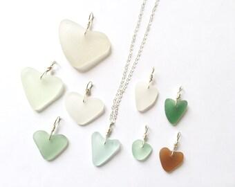 Sea glass heart necklace, sea glass heart - choice of sea glass color and size, sea glass jewelry, heart pendant