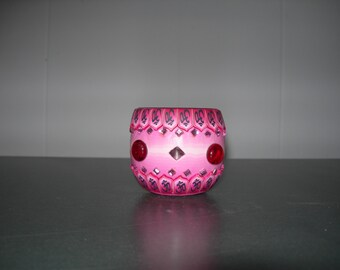 Fimo glass votive candle holder (bejewled Pink)
