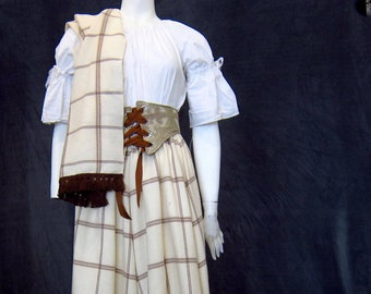 Classy Plus Sized Cream and Brown Drawstring Skirt with Fringed Throw, Lightweight Wool Skirt and Shawl Set, Celtic Theme Costume