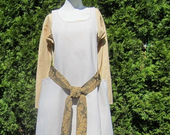 Ivory Sideless Surcote Overdress, Woven Textured Medieval Gown, Historically Correct  Garb
