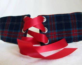 "Red Plaid Key Fob// Wristlet// Key Chain 1/"" Ribbon Punk Celtic"