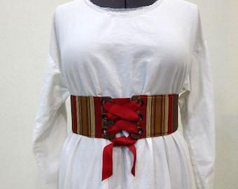 Renaissance Costume Waist Cincher, Underbust Corset, Pirate Costume, Celtic Costume, Size Large