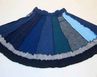 Blue Plus Size Recycled Sweater Skirt, Ethical Clothing Bohemian Skirt, Size 18 Petite