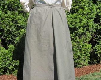 Renaissance Skirt for Realistic Ren Faire Costume, Olive Cotton Layering Skirt, Petticoat, Underskirt or Overskirt