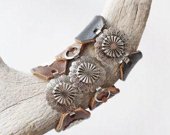 Custom Made Southern Boho Leather Concho Cuff Bracelet