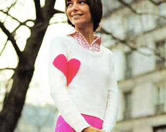 """Vintage 70's Knit """"Heart On Sleeve"""" Sweater - PDF Pattern - INSTANT DOWNLOAD"""