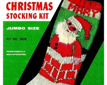 Vintage Christmas Knit Stocking Pattern - PDF Pattern - Instant Downlad