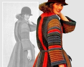 Vintage 70's Crochet COAT PDF Pattern - Instant Download