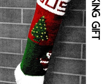 Vintage Knit Christmas Stocking - PDF Pattern -INSTANT DOWNLOAD