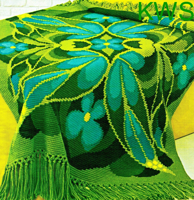 Crochet Afghan Pattern - Vintage 70\'s \