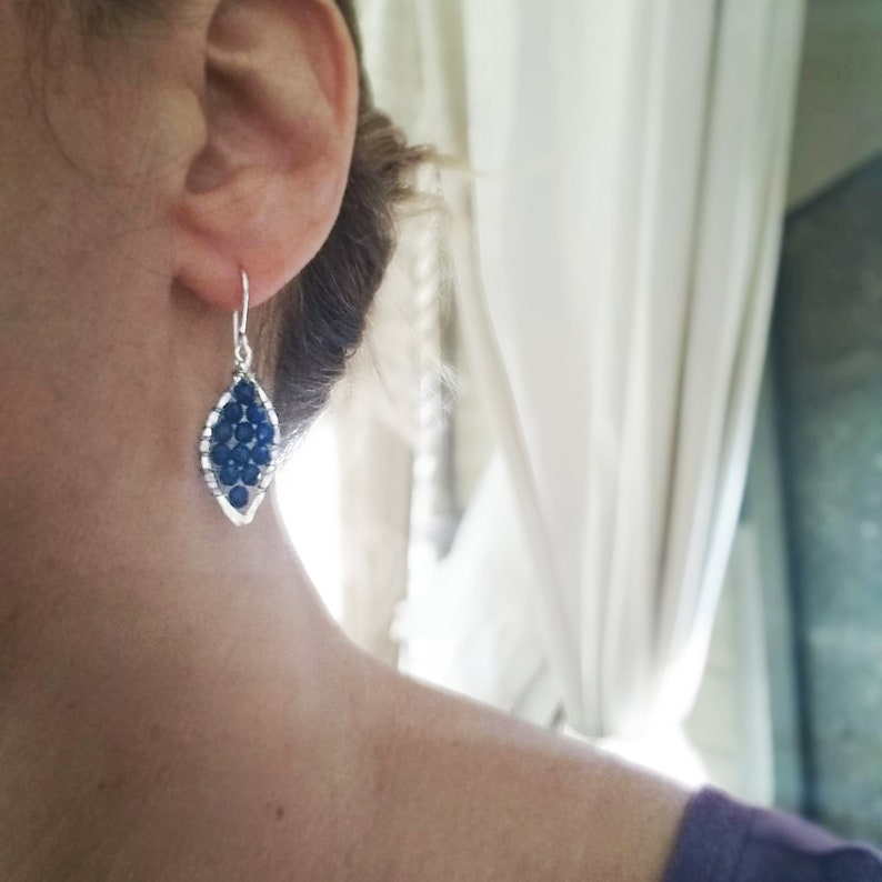 Sapphire earrings in 14k Gold filled  or Silver  Sapphire image 0