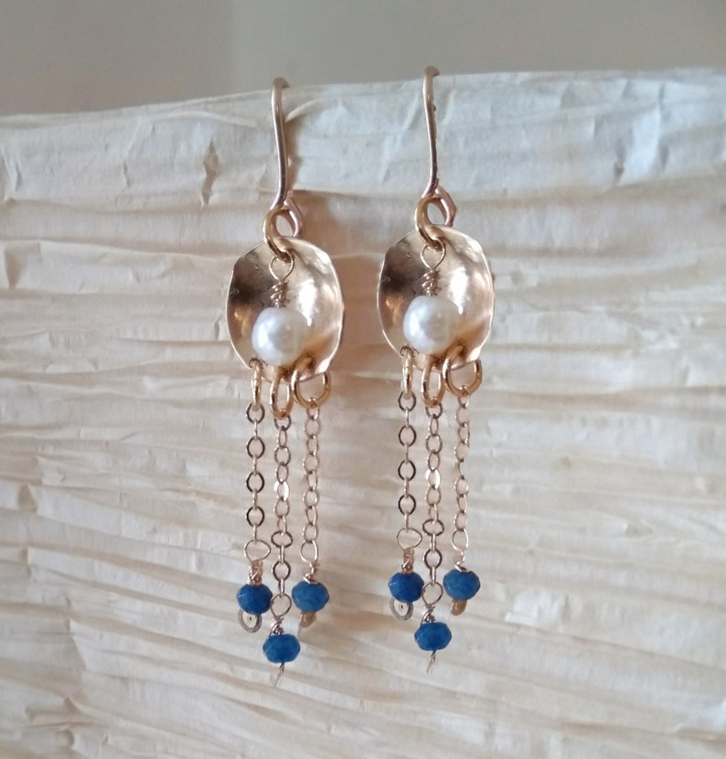 Sapphire and Pearl Earrings-Raw Pearl-Sapphire image 0