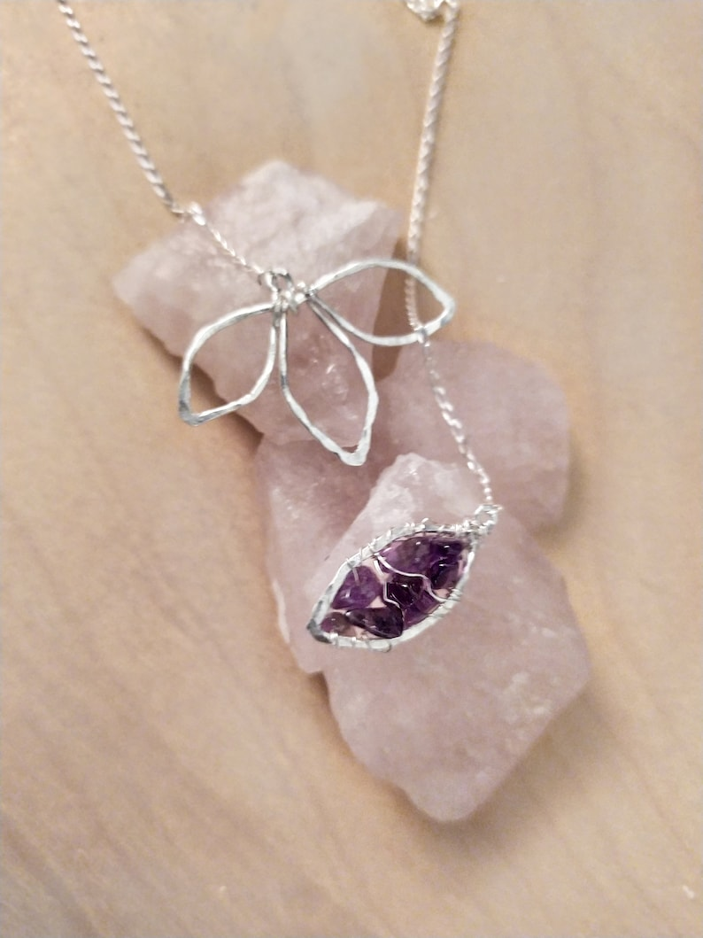 February birthstone Womans gift Crystals. Jewelry Amethyst jar pendant necklace Necklace Birthday gift Amethyst Amethyst necklace