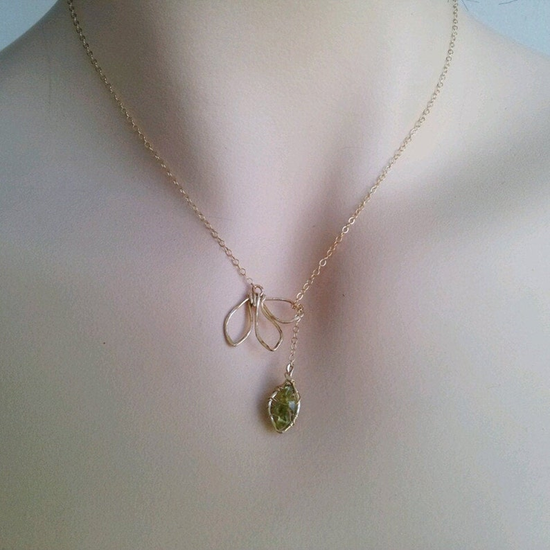 Peridot Necklace & Earrings Raw Peridot August birthday image 0
