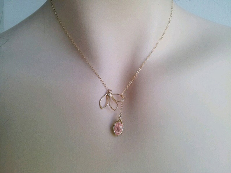 Raw Rose Quartz Necklace Healing Stone Gift Rose Quartz image 0