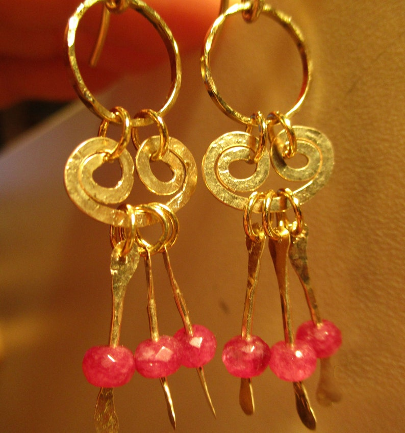 Ruby July Birthstone Earrings  14k Gold Filled Or Sterling image 0