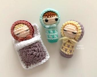 BEDTIME BABIES Free Crochet Pattern (DIY Tutorial quick easy cute kawaii beginner yarn amigurumi toddler kids worry doll bed set play toy)