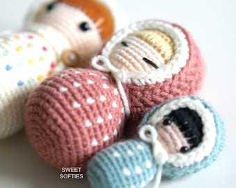 SWADDLE BABIES Amigurumi Crochet Pattern (DIY Tutorial quick easy cute kawaii beginner yarn baby toddler kids waldorf doll unisex play toy