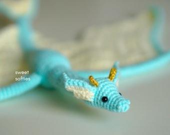 MERMAID DRAGON Amigurumi Crochet Pattern (DIY Tutorial quick easy cute kawaii yarn fantasy serpent wyvern kids waldorf doll unisex play toy