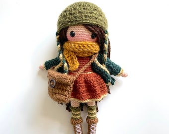 Willow the Woodland Doll Amigurumi Crochet Pattern (DIY Tutorial cute girl doll kids childrens yarn toy gift removable clothes pretend play)
