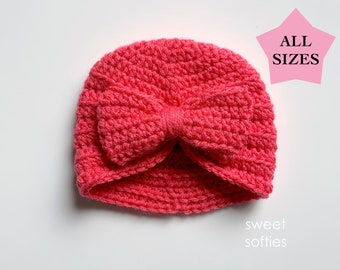 Ribbed Turban Hat & Bow in ALL SIZES   newborn baby toddler child teen adult   DIY Tutorial quick easy cute beginner girl yarn beanie gift