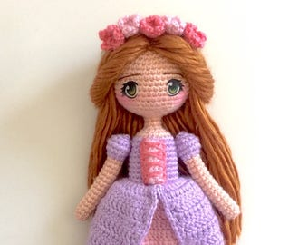 Princess Maeve Amigurumi Crochet Doll - Irish Celtic Gaelic fairytale storybook medieval female girl doll rustic flower crown dress gown toy