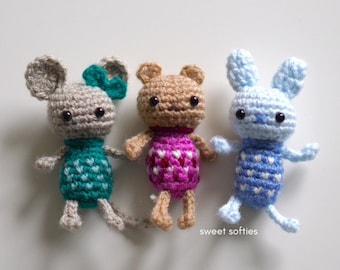 COMFORT CRITTERS Free Crochet Pattern (DIY Tutorial quick easy cute kawaii beginner yarn amigurumi toddler kids worry doll bed set play toy)