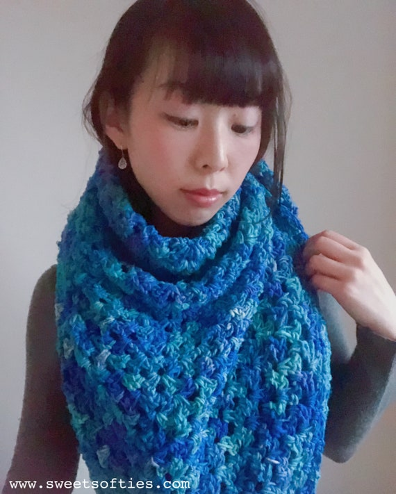 Free Crochet Pattern: Sapphire Love Shawl, Triangle Scarf Handmade DIY Gift  PDF and YouTube Video How To Tutorial