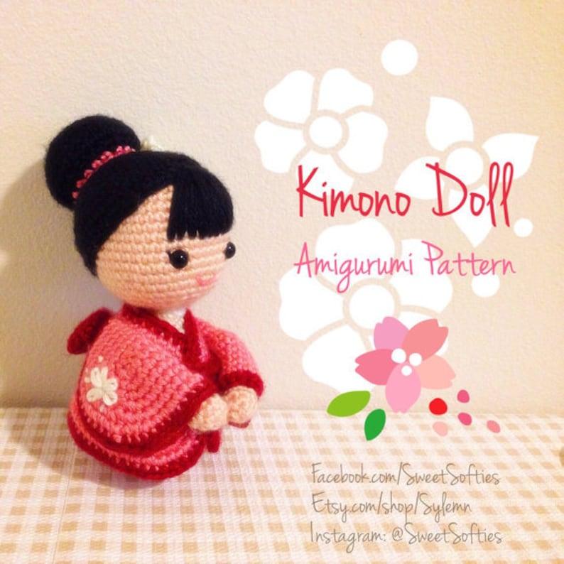 Amigurumi Crochet Doll Pattern Japanese Kimono Doll Anime Girl Customizable Female Human Body Base Traditional Kokeshi