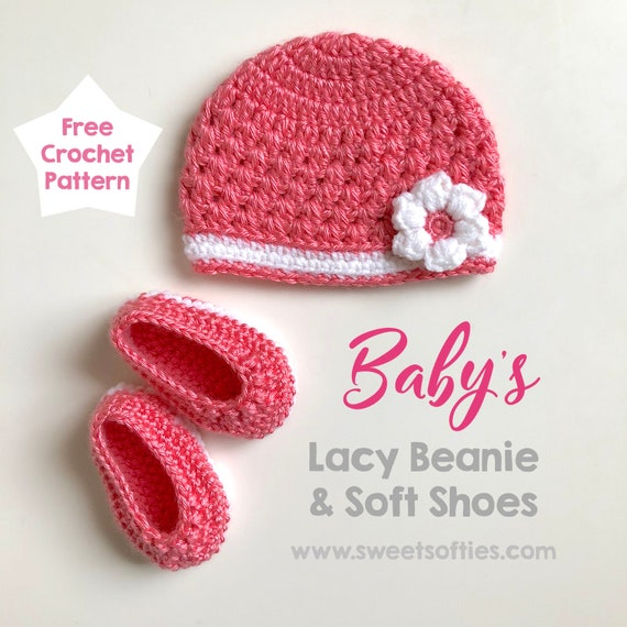 Free Crochet Pattern 2 Pack Lacy Baby Beanie With Flower And Etsy