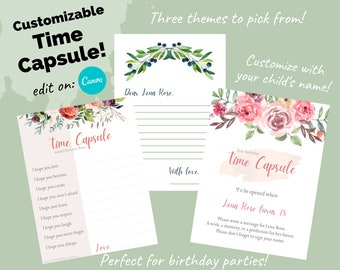 Time Capsule Sign, Message Letter & Wishes Cards    First Birthday Unisex Leaf Greenery, Elegant Boho Floral Themes   Editable Printable
