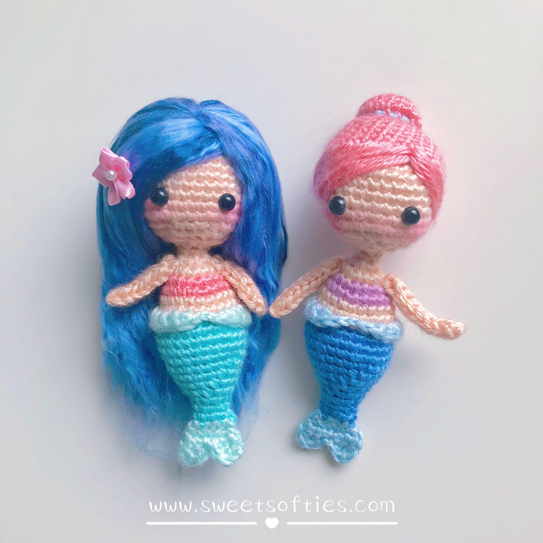 Free Amigurumi Crochet Pattern Tutorial: Coral the Baby Mermaid (quick easy  cute big head chibi beginner handmade diy idea summer girl gift)
